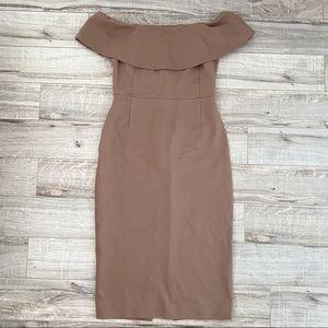 Aritzia Babaton Ruslan Taupe Off Shoulder Dress 6
